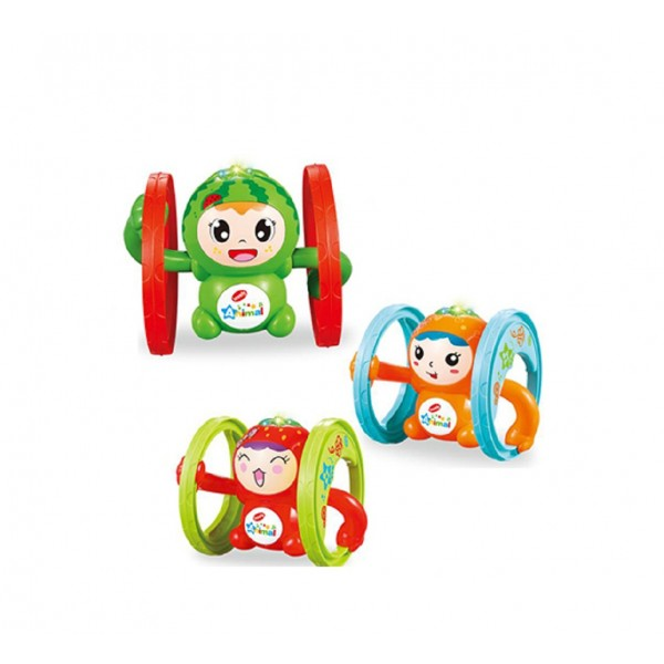Cute 360 Degree Spin Key Winding Stunt Fruit Musical Toy with Light and Sound Effects