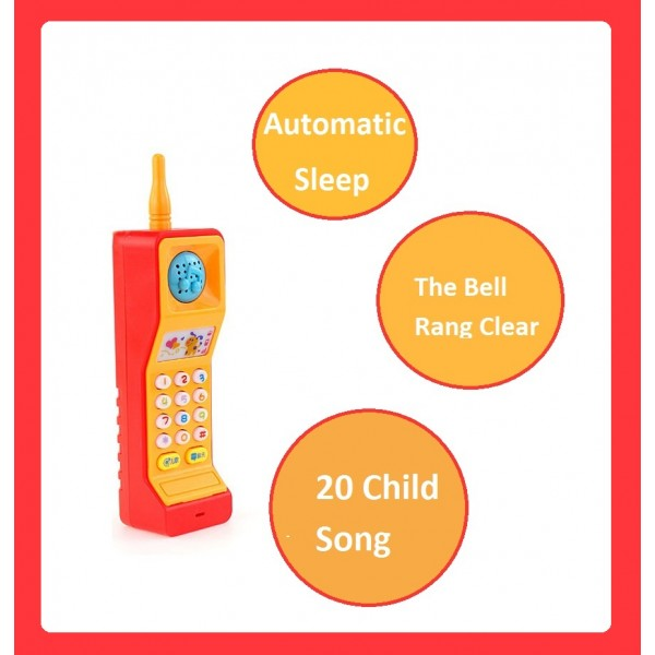 Kids Pretend Play Musical Mobile Phone Toy with Colourful Lights and Sound Effects