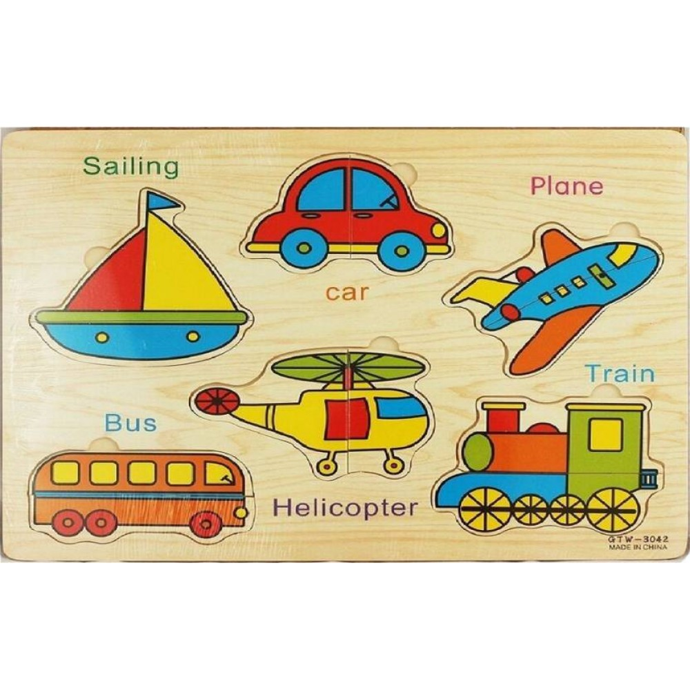 Wooden Transportation Puzzle Jigsaw Early Learning Baby Kids Educational Toys US