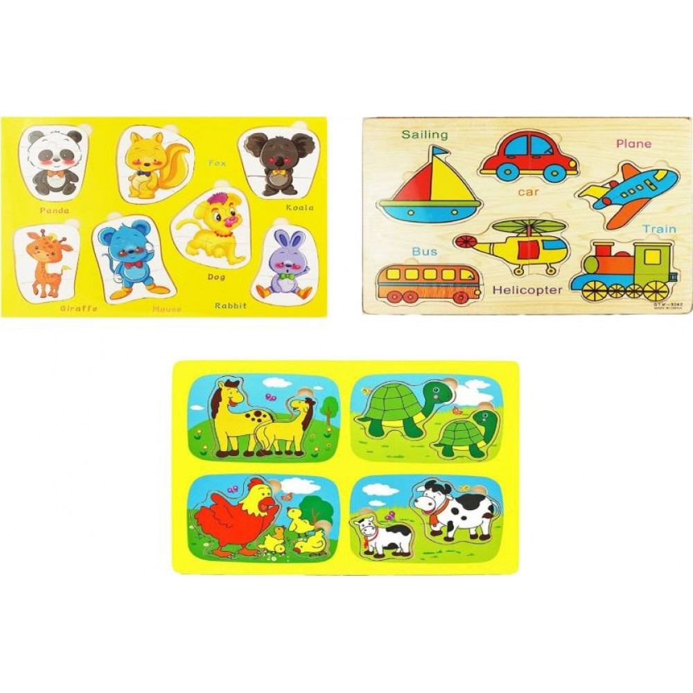 1 Set Wooden Puzzles Jigsaw Wooden Toy For Children Cartoon Animal Puzzles Panel
