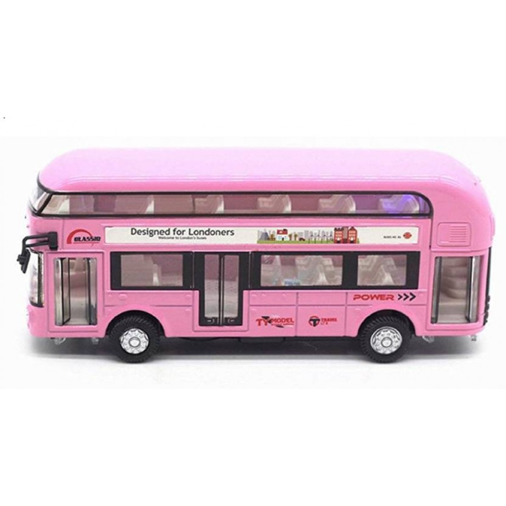 Double Decker Die Cast Metal Body Pink Luxury Bus with Real