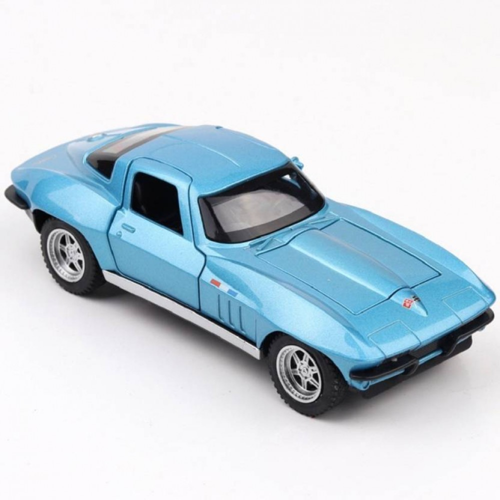 Blue 1:32 Die Cast Metal Chevrolet Corvette Pull Back Car Toy with