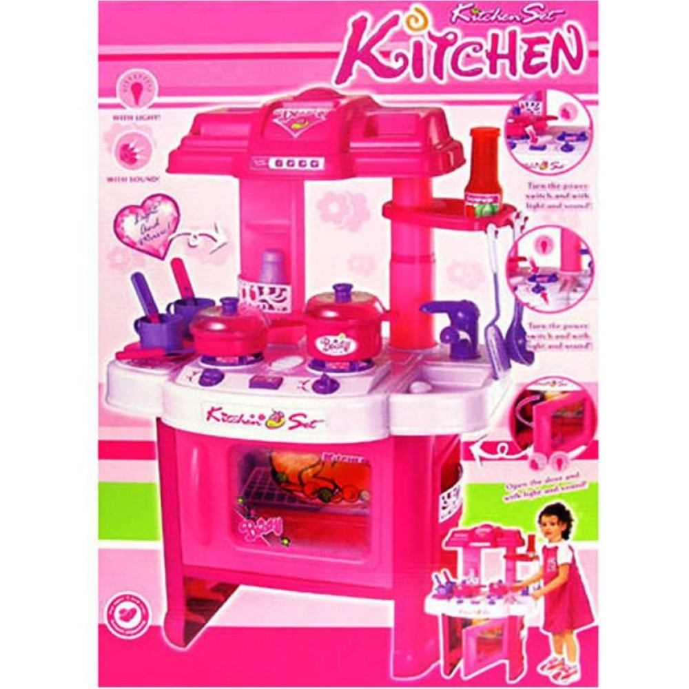 Big Size 30 Pcs Luxury Battery Operated Portable Kitchen Cookware Set Toy With Light And Sound