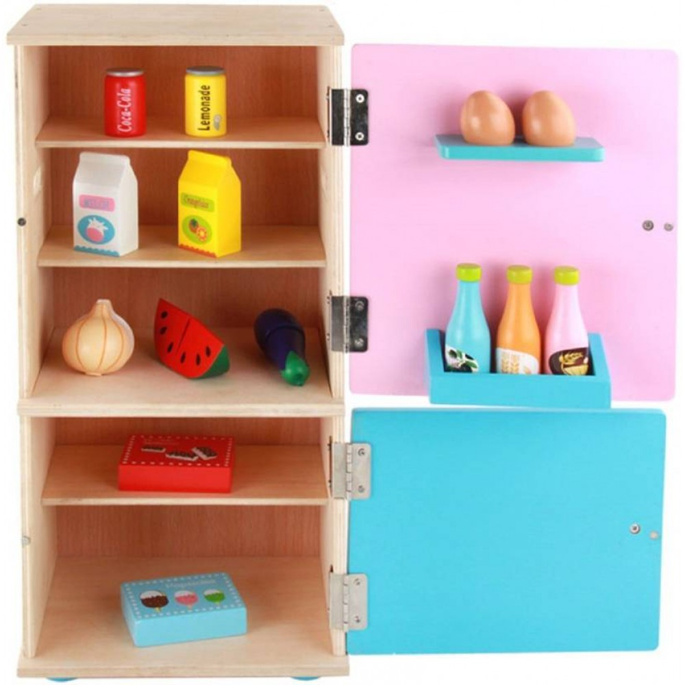 Wooden Pretend Play Realistic Kitchen Refrigerator With
