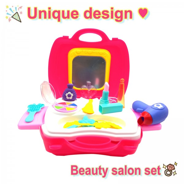 Kids Pretend Play 20 Pcs Salon Make Up Kit Playset Toy with Handy Suitcase for Kids