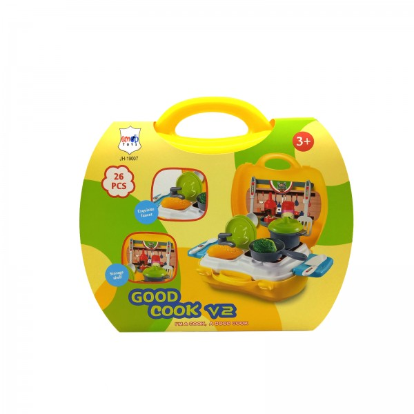 26 PCS Pretend Play Cookware Kitchen Set Toy for Kids with Portable Suitcase