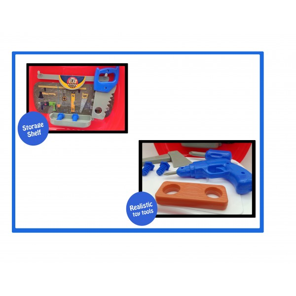 19 PCS Pretend Play Craftmen Engineering Tool Kit Playset Toy for Kids with Portable Suitcase