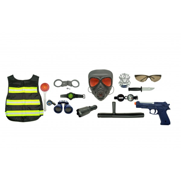 Kids Pretend Play Police Combat Playset toy with Light / Sound Gun and Different Accessories