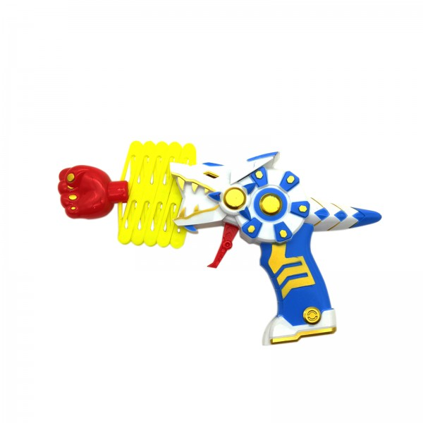 Kids Retractable Dinosaur Shaped Fist Shooter Spring Gun Toy with Light and Sound Effects