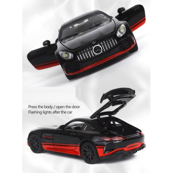 1:32 Die Cast Metal Body Mercedes Benz GTR Pull Back Car Toy with Light and Sound Effects